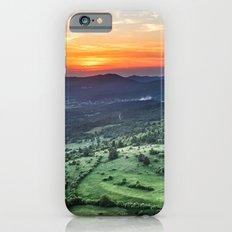 Beautiful sunset behind green fields iPhone 6s Slim Case
