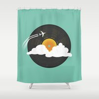 records Shower Curtains featuring Sunburst Records by Dianne Delahunty