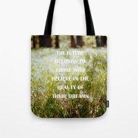 future Tote Bags featuring Future by Nina Sinitskaya