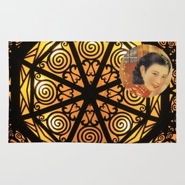 Woman in China - Beijing 7033 - Gold and black decor Rug