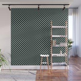 Black and Honeydew Polka Dots Wall Mural