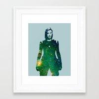 battlestar galactica Framed Art Prints featuring Starbuck Battlestar Galactica by pennyPRINTABLE