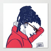 cosima Canvas Prints featuring Cosima in Red by the-haps