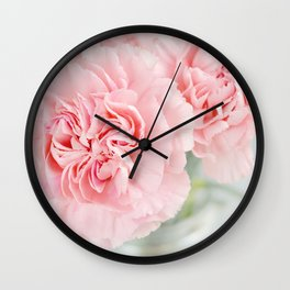 Pale Pink Carnations 3 Wall Clock