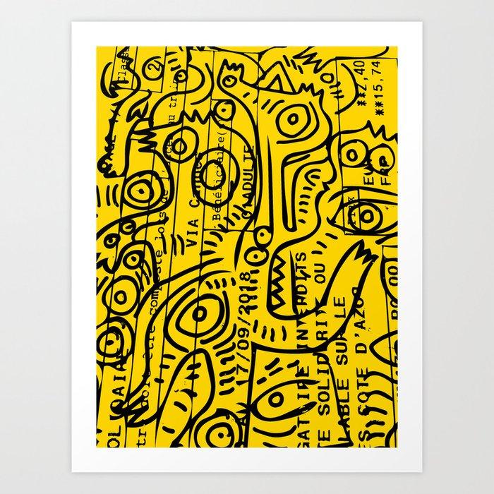 Yellow Street Art Graffiti Train Ticket Kunstdrucke