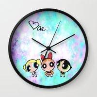 powerpuff girls Wall Clocks featuring Powerpuff Girls by Mind of Bae
