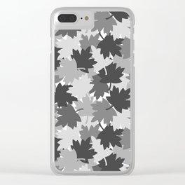 Camo Gray Leaves Clear iPhone Case