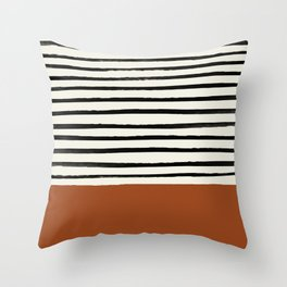 Burnt Orange x Stripes Throw Pillow