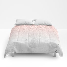 She Sparkles Rose Gold Pink Concrete Luxe Comforters