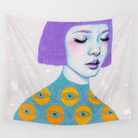 woman Wall Tapestries featuring The Observer by Natalie Foss