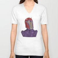 magneto V-neck T-shirts featuring Magneto by Matthew Bartlett
