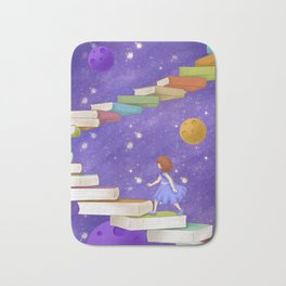 Girl Walking On Books Bath Mat