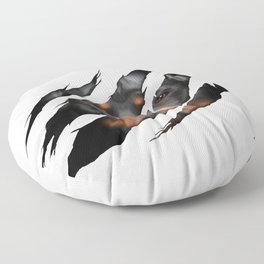 Rottweiler 3D torn effect illustration Floor Pillow