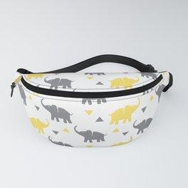 Elephants & Triangles - Gray / Yellow Fanny Pack