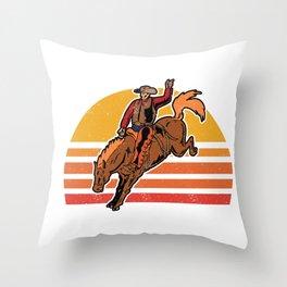 Vintage Cowboy Bucking Horse Rodeo Gift Throw Pillow