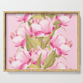 Pink Peonies on a pink background - #Sociey6 #buyart Serving Tray
