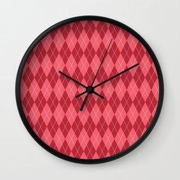 Red Plaid Pattern Wall Clock