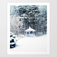 Snowy Gazebo Art Print