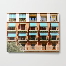 Vintage Apartament Building Block Exterior Facade Metal Print