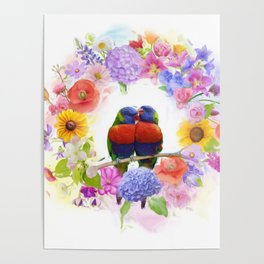 arrangement of colorful flowers and parrots watercolor Poster