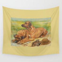 Rhodesian Ridgeback Dog portrait in scenic landscape Painting Wall Tapestry