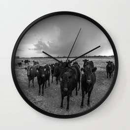 Hanging Out - Black and White Photo of Cows in Kansas Wall Clock