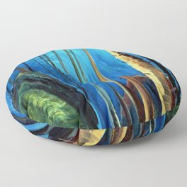 Big Sky Country, Forest Morning Blue portrait painting by Emily Carr Floor Pillow