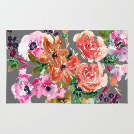 Coral Rose Bouquet Rug