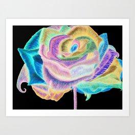 Pretty in Pink (Neon Rainbow Rose) Art Print