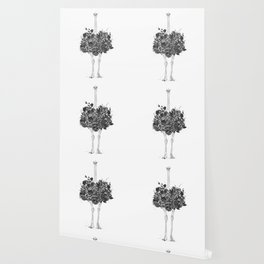 Floral ostrich Wallpaper