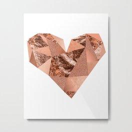 Rose gold geometric heart - glitter & foil Metal Print