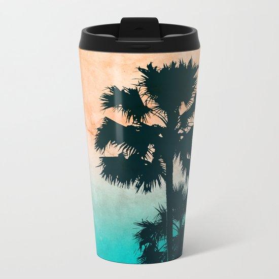 Palms on the beach Metal Travel Mug