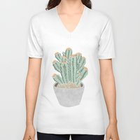 cactus V-neck T-shirts featuring Cactus by Veils and Mirrors