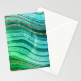Ocean Blue And Green Mermaid Glamour Marble Stationery Cards