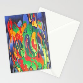 Buxom Nude Woman Splashed With Paint Stationery Cards
