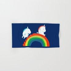 Unicorn on rainbow slide Hand & Bath Towel