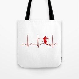 SKIING MAN HEARTBEAT Tote Bag