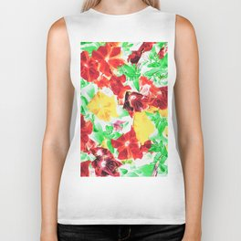 red flower and yellow flower with green leaf abstract background Biker Tank