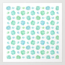 Trendy modern turquoise teal cute cactus pattern Art Print