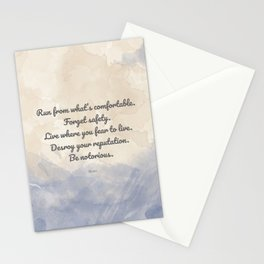 Forget Safety. Quote by Rumi on Courage Stationery Cards
