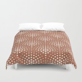Creamy Off White SW7012 Polka Dot Scallop Fan Pattern on Cavern Clay SW 7701 Duvet Cover