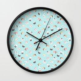 Blue Kawaii Sushi Pattern Wall Clock