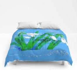Digital Watercolor snowdrops Comforters