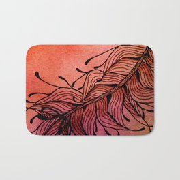 Doodled Autumn Feather 01 Bath Mat