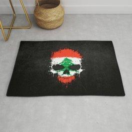Flag of Lebanon on a Chaotic Splatter Skull Rug