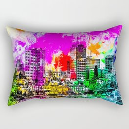 building in the city at San Francisco, USA with colorful painting abstract background Rectangular Pillow