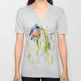 KIngfisher and Weeping Willow Unisex V-Neck