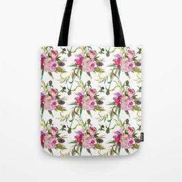 Elegant blush pink green yellow watercolor floral Tote Bag