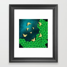 clover and butterflies Framed Art Print
