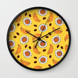 Coffee and croissant breakfast pattern on yellow background Wall Clock